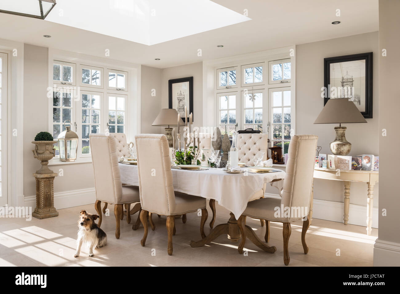 Dining table with buttoned chairs under skylight in orangery - Stock Image