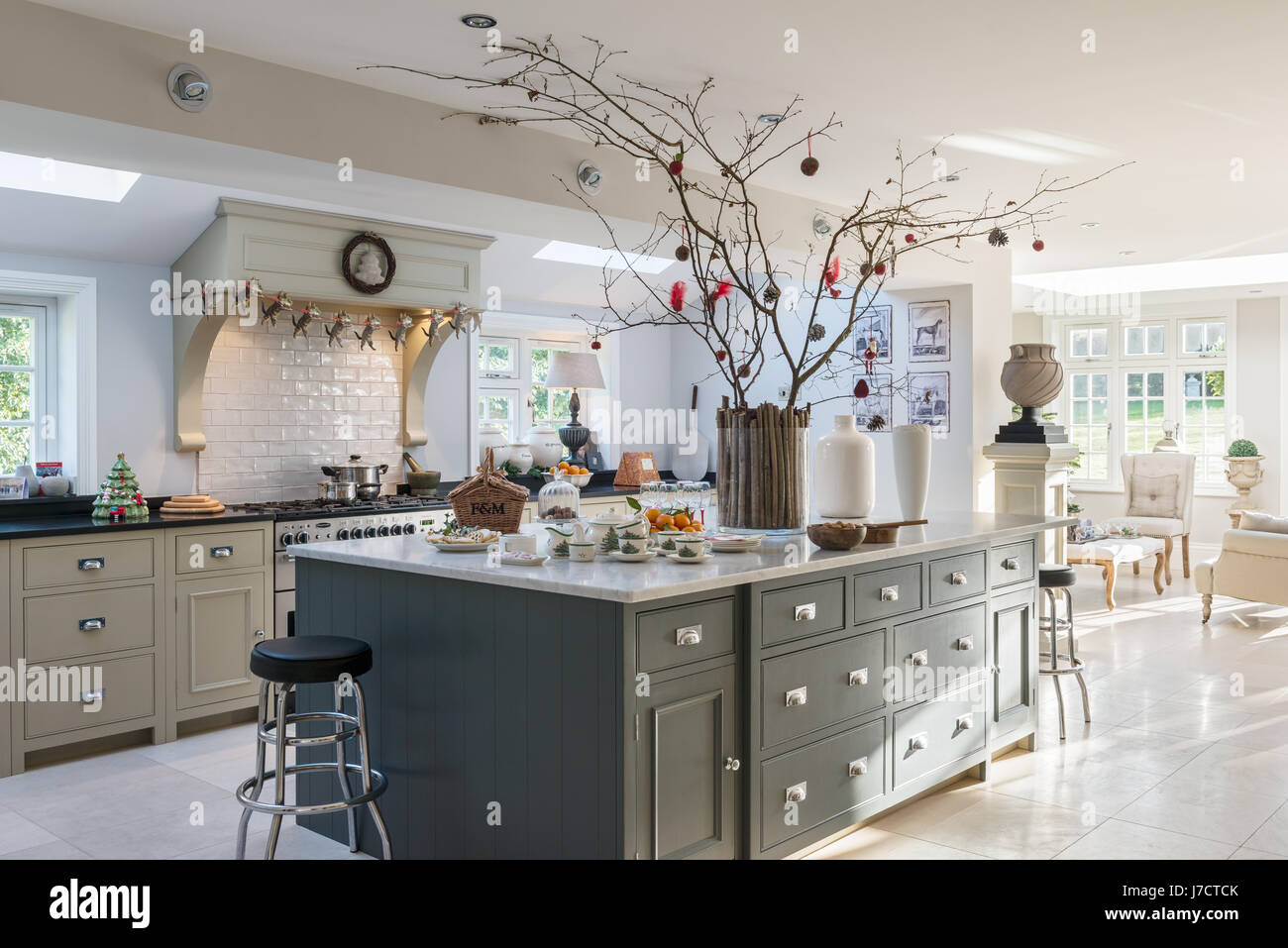 spacious kitchen island unit with christmas decorations in 18th stock photo 142268131 alamy. Black Bedroom Furniture Sets. Home Design Ideas