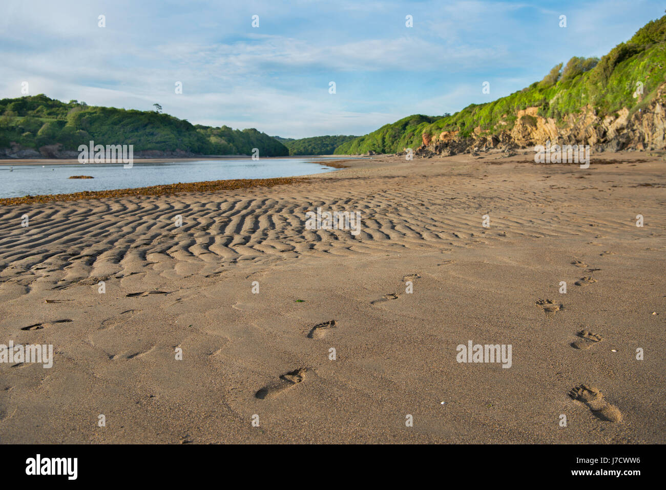 Wonwell Beach at the mouth of the River Erme in South Devon. - Stock Image