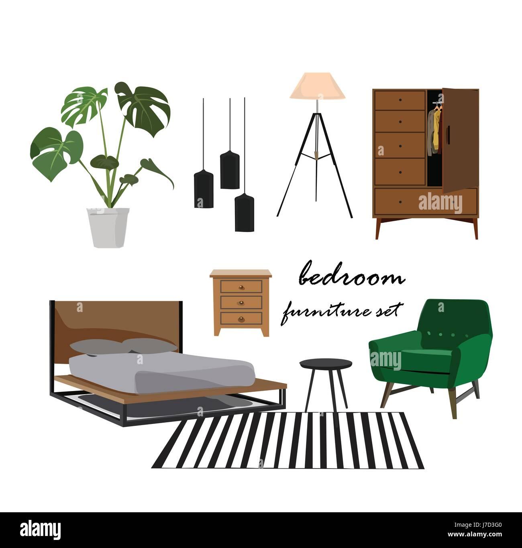 Bedroom furniture set interior design home elements collection mood board designer danish scandinavian modern realistic bed plant tripod lamp