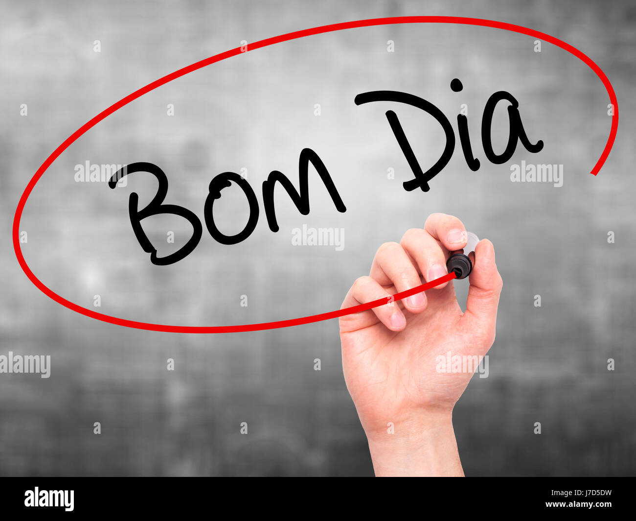 Man Hand Writing Bom Dia In Portuguese Good Morning Stock Photo