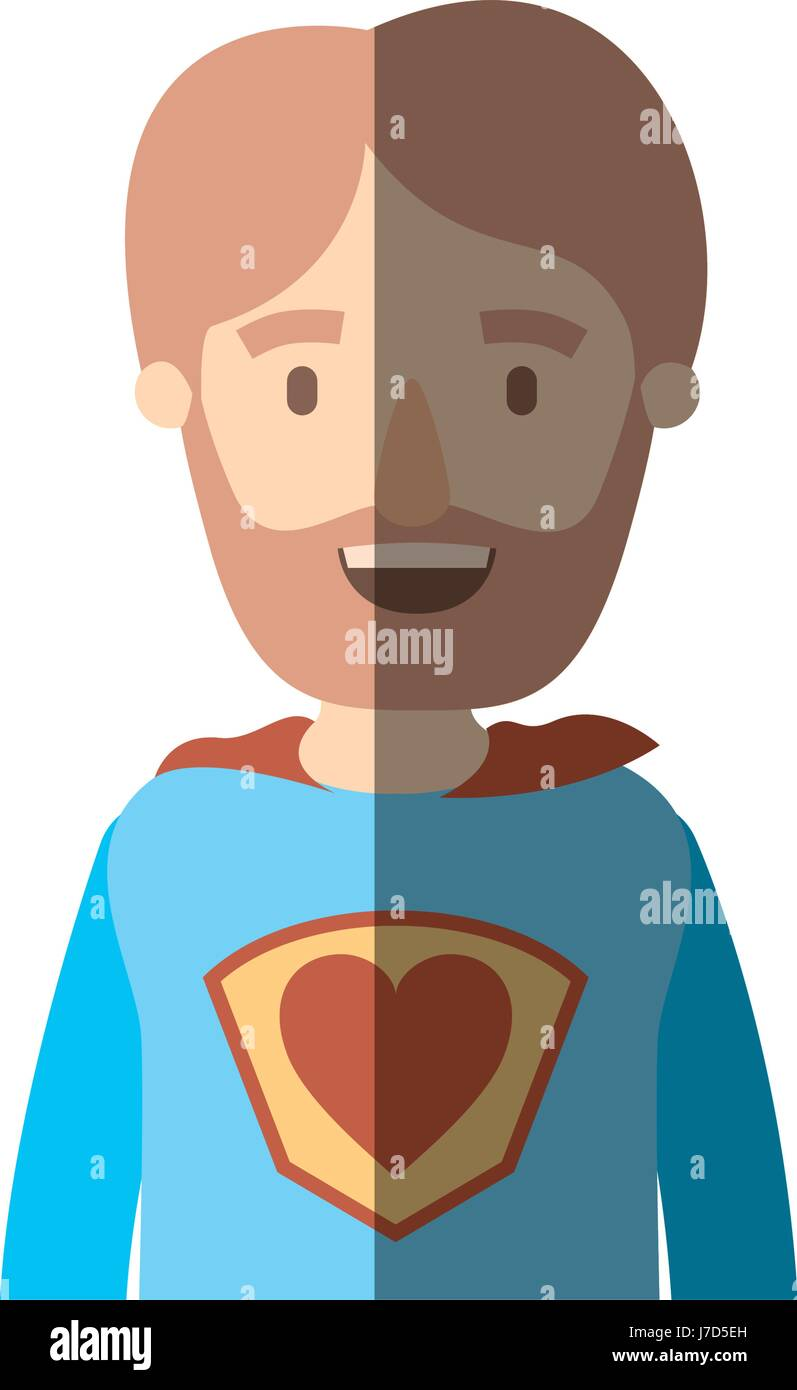 light color shading caricature half body super hero father with beard - Stock Image
