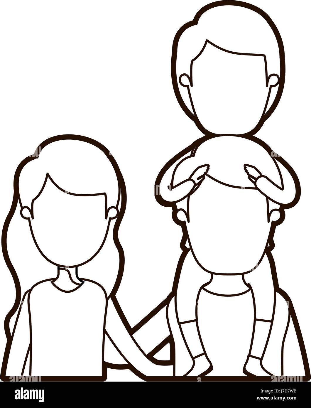 black thick contour caricature faceless front view half body young family parents with boy on his back - Stock Vector
