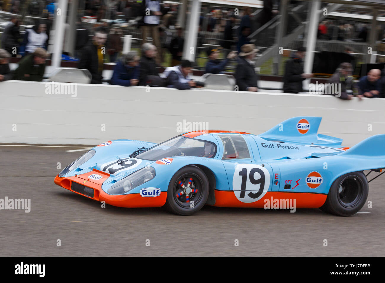 1971 Porsche 917K Group 5 car with driver Richard Attwood at the Goodwood GRRC 74th Members Meeting, Sussex, UK. - Stock Image