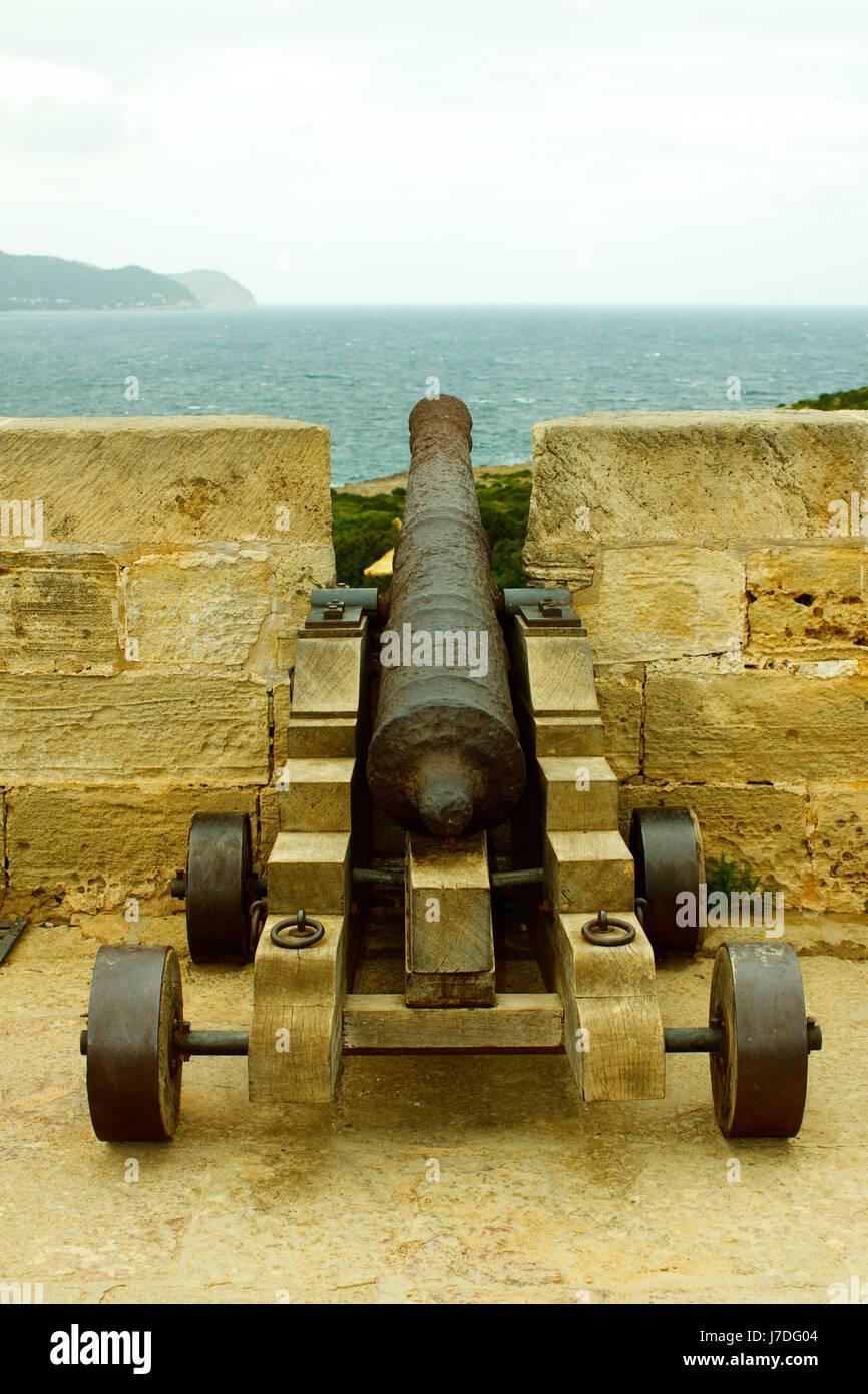 cannon on it castel - mallorca - Stock Image