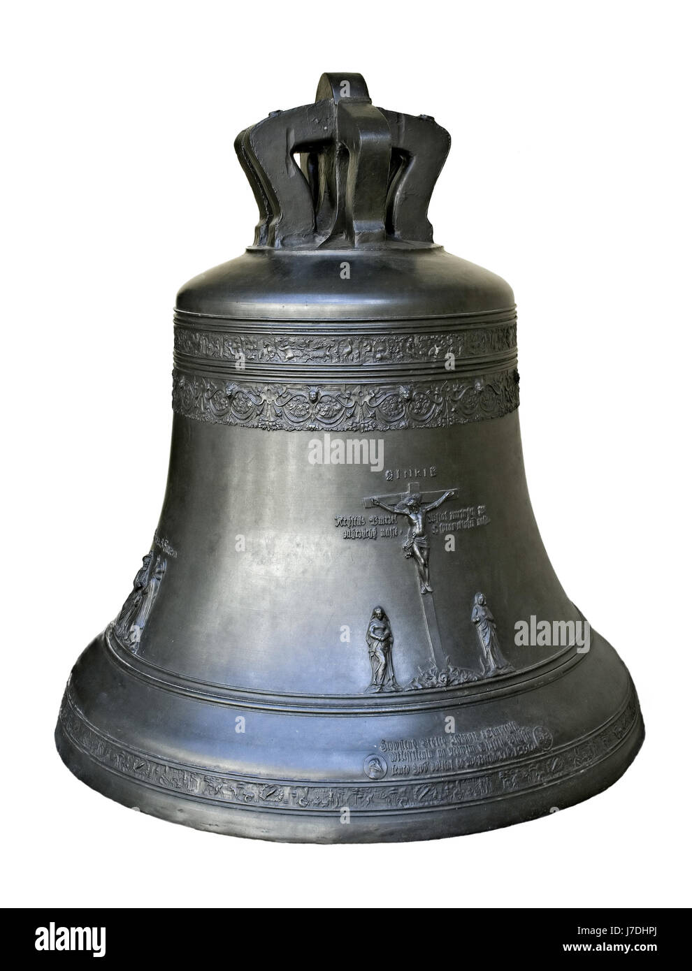 metal bell isolate old bronze tower historical religion church antique - Stock Image