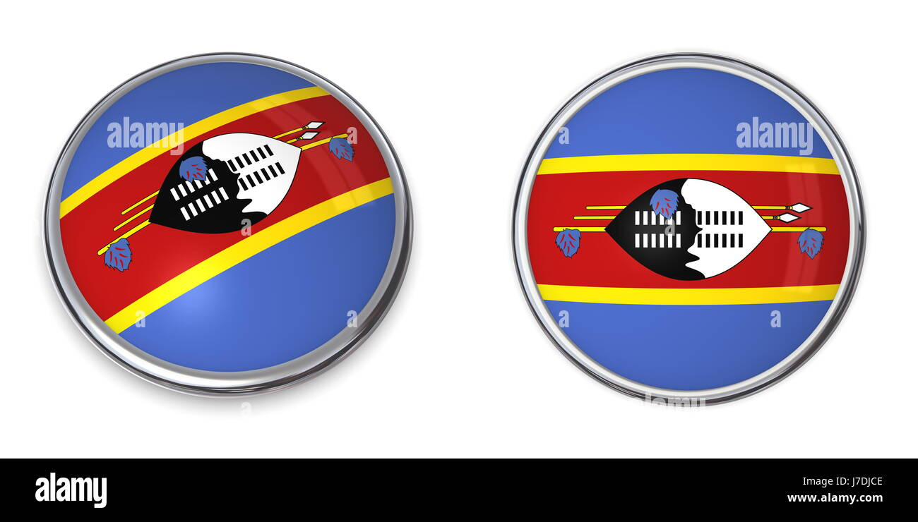 flag button banner pin sticker swaziland stickers round ring travel isolated Stock Photo