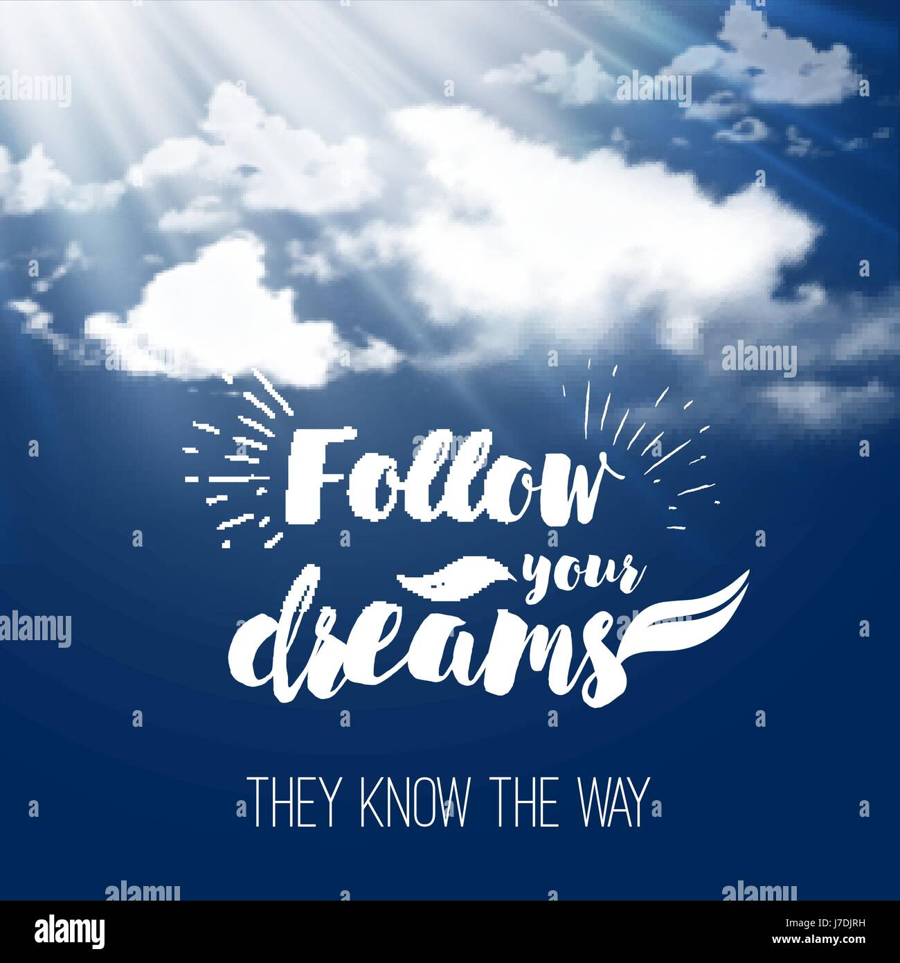 Inspiration Quote Follow Your Dreams On The Sky Background With