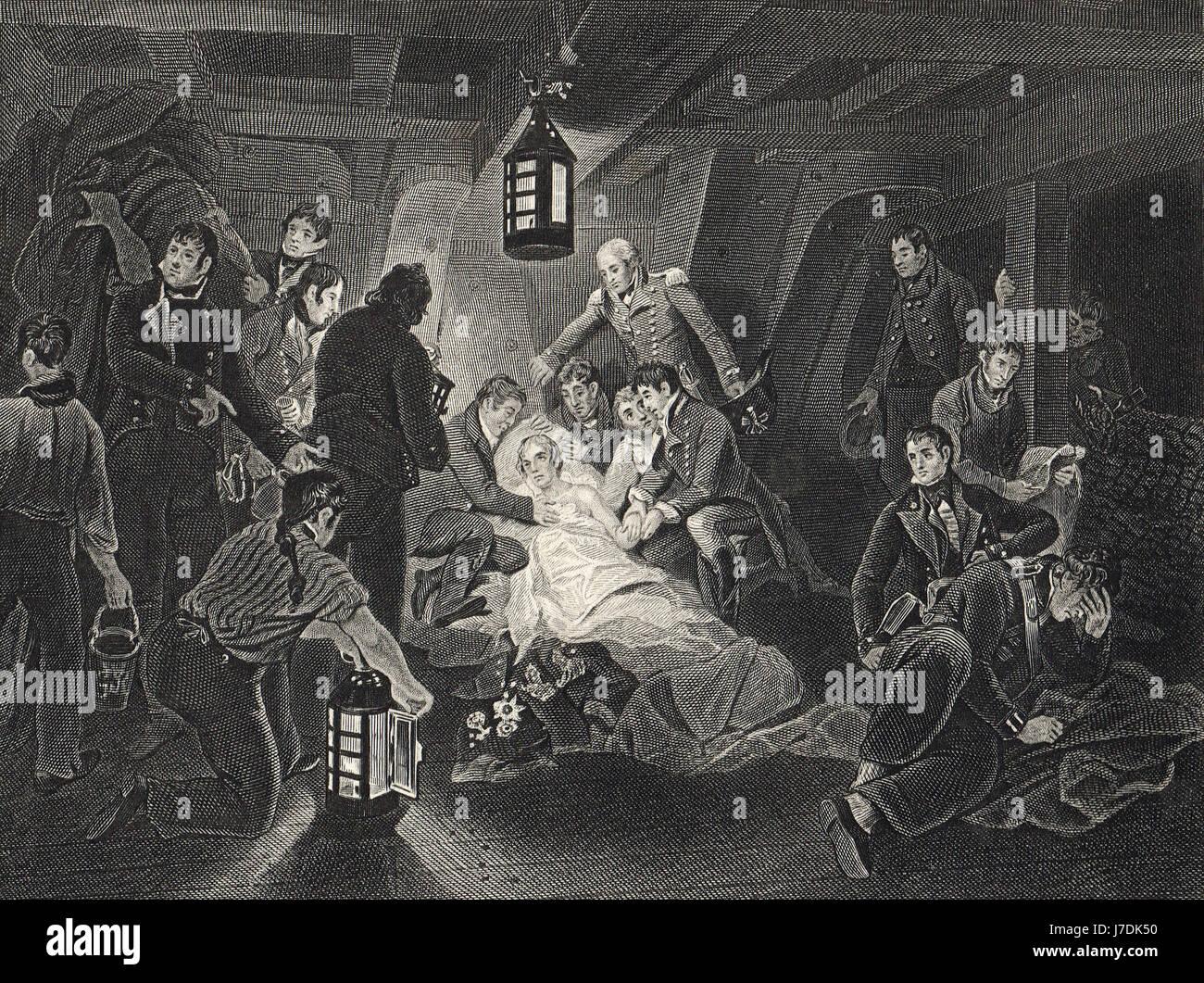 Death of Nelson Battle of Trafalgar 1805 - Stock Image