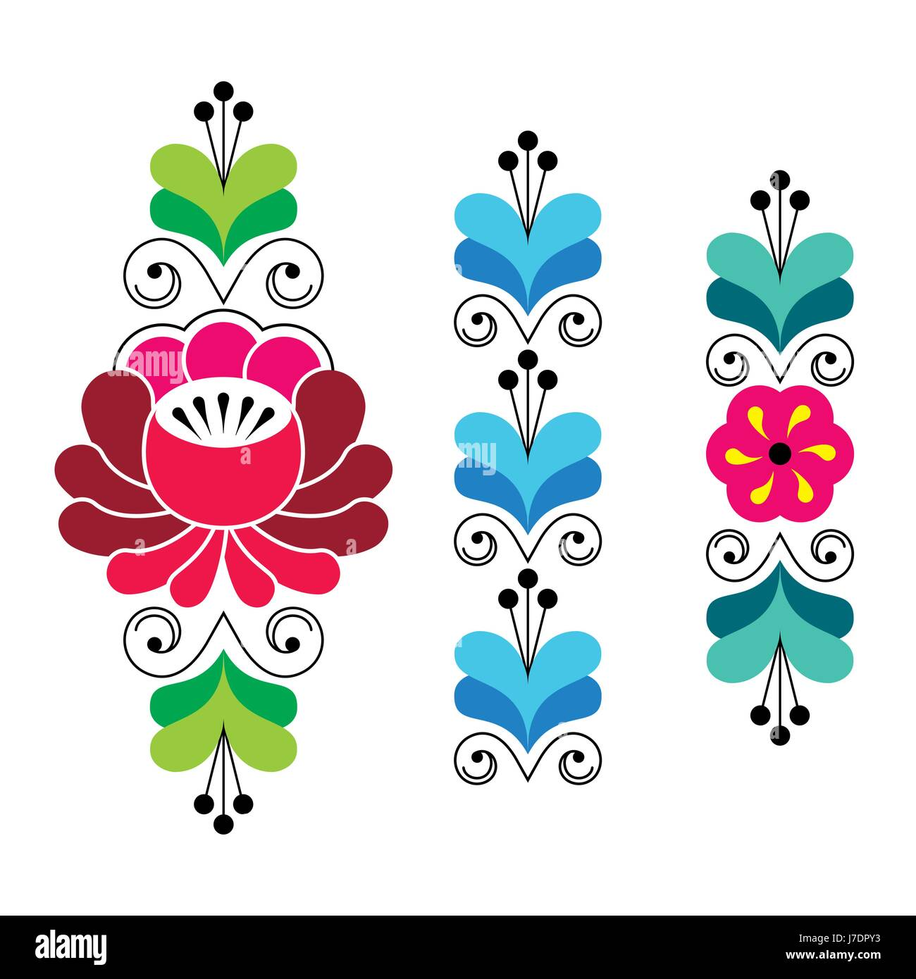 Russian Folk Art Pattern Floral Long Stripes Stock Image