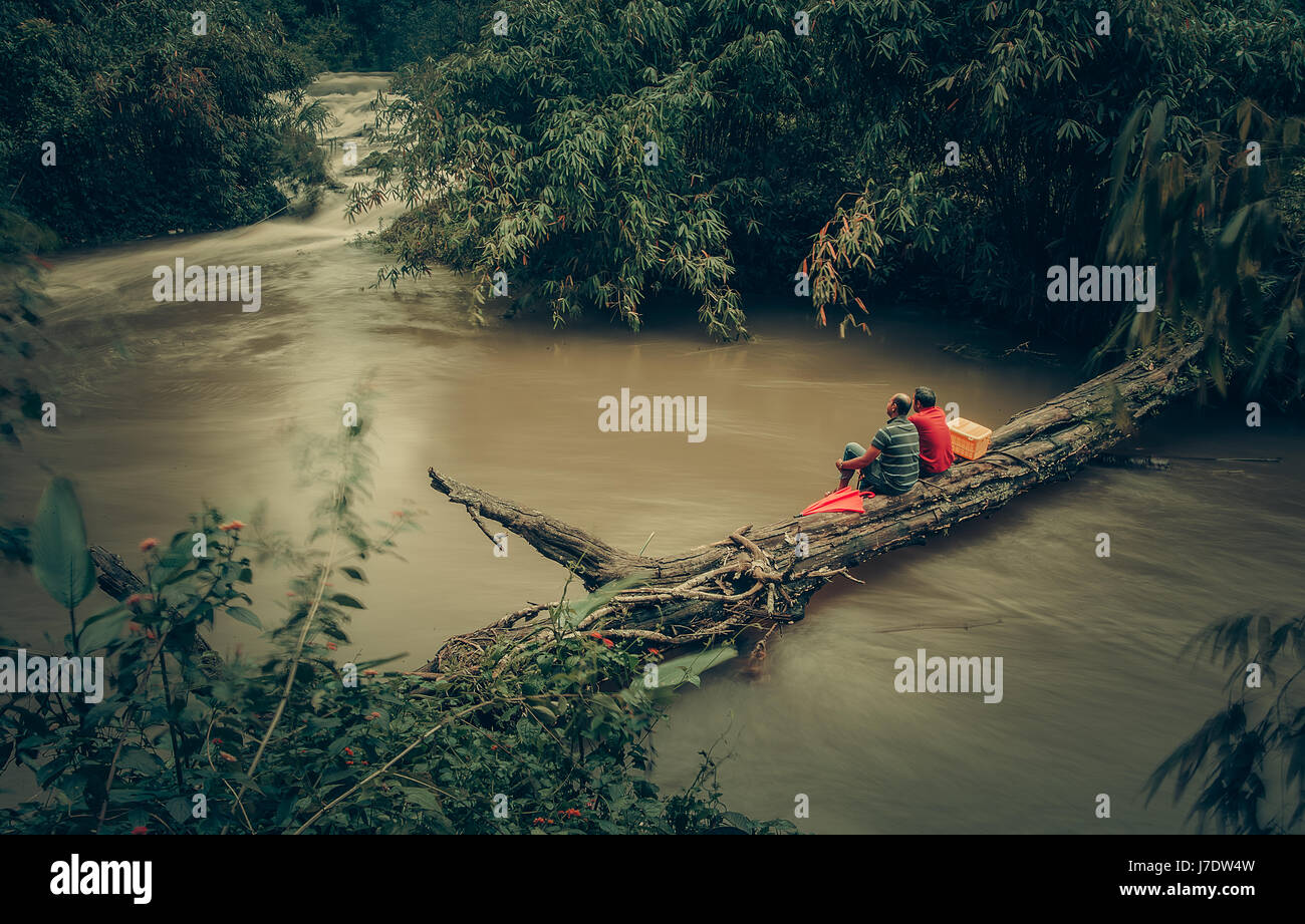 friends relaxing  on a fallen tree trunk across river near a water fall - Stock Image
