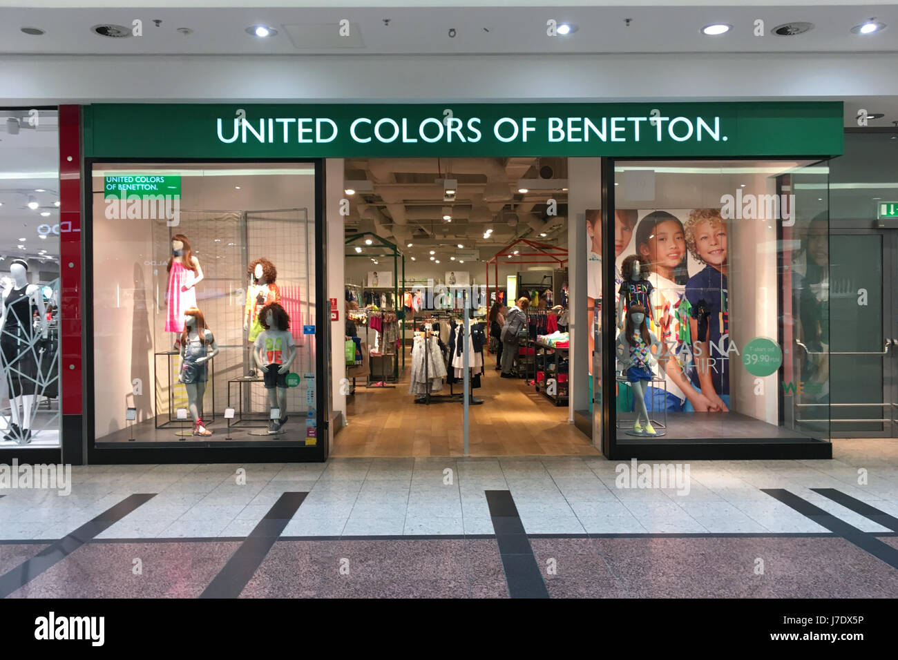 Krakow, Poland - May 21, 2017:  Exterior of United Colors of Benetton store in Krakow.  Benetton is a global fashion - Stock Image