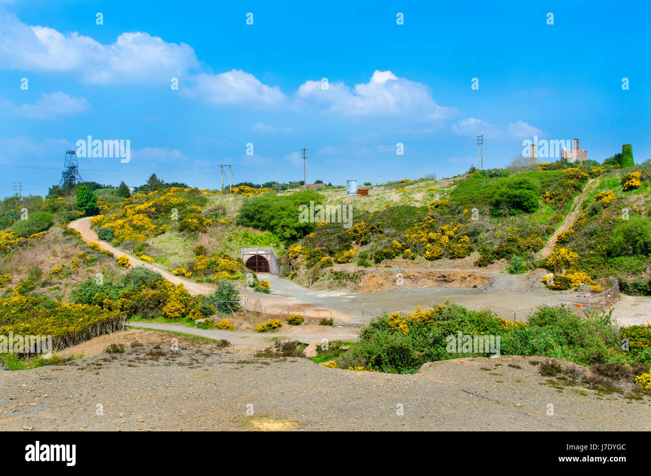 The Tuckingmill Decline entrance to South Crofty Mine at Pool Cornwall. The headgear of South Crofty can be seen - Stock Image