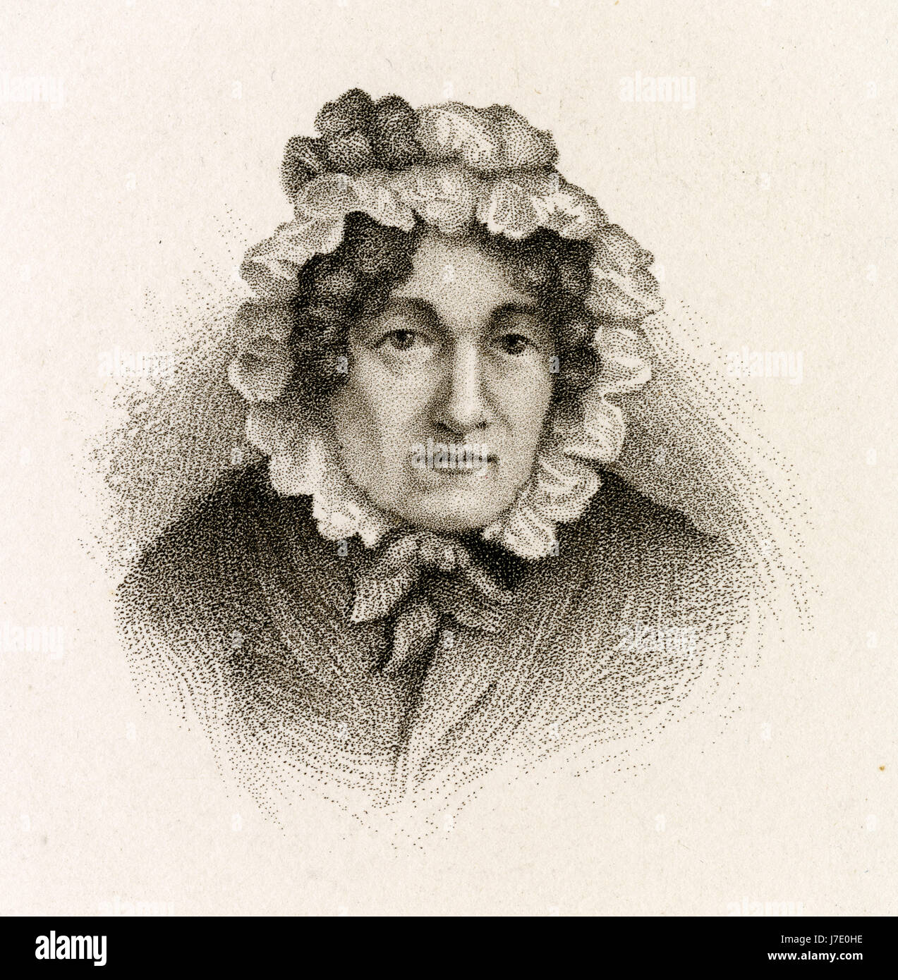 Antique c1860 engraving, Mary Lamb. Mary Ann Lamb (1764-1847), was an English writer. She is best known for the - Stock Image