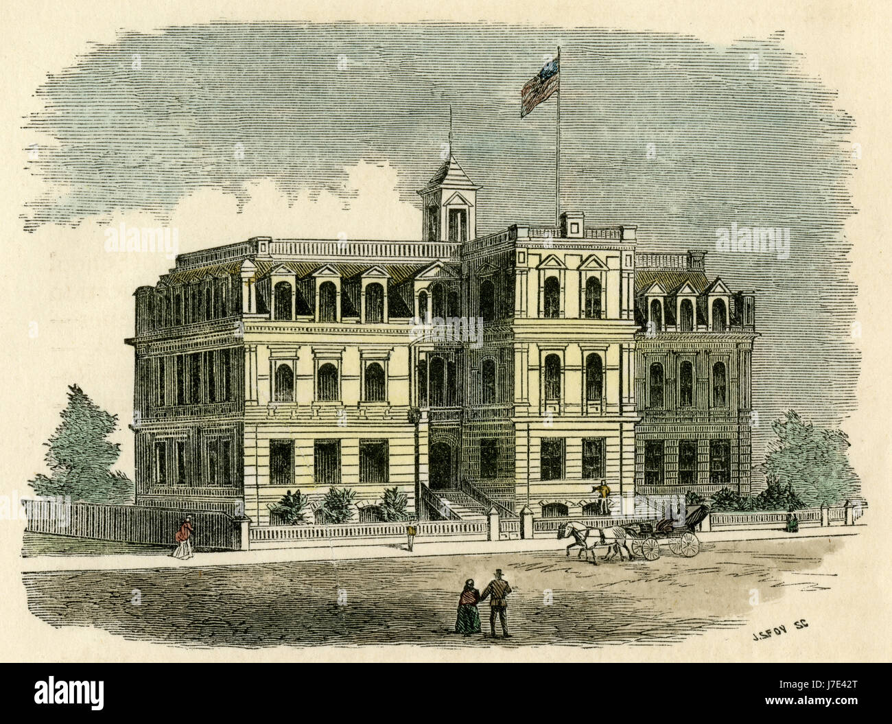 Antique c1880 engraving, Lincoln School House, Fifth St., San Francisco, 1873 (Accommodation 1150 Boys; Cost $100,000). - Stock Image