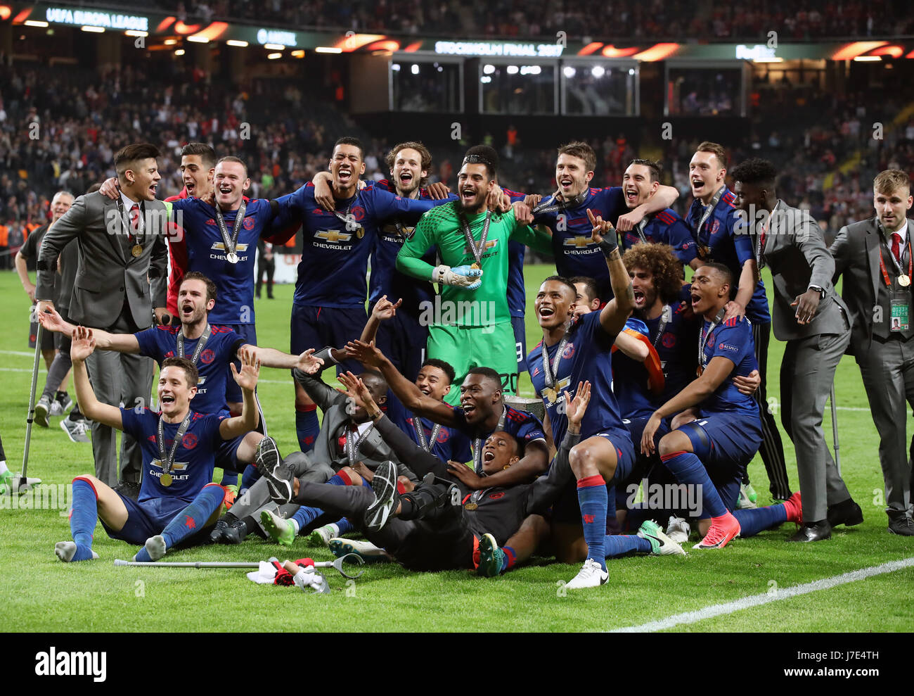 manchester united players celebrate winning the uefa europa league stock photo alamy https www alamy com stock photo manchester united players celebrate winning the uefa europa league 142296689 html