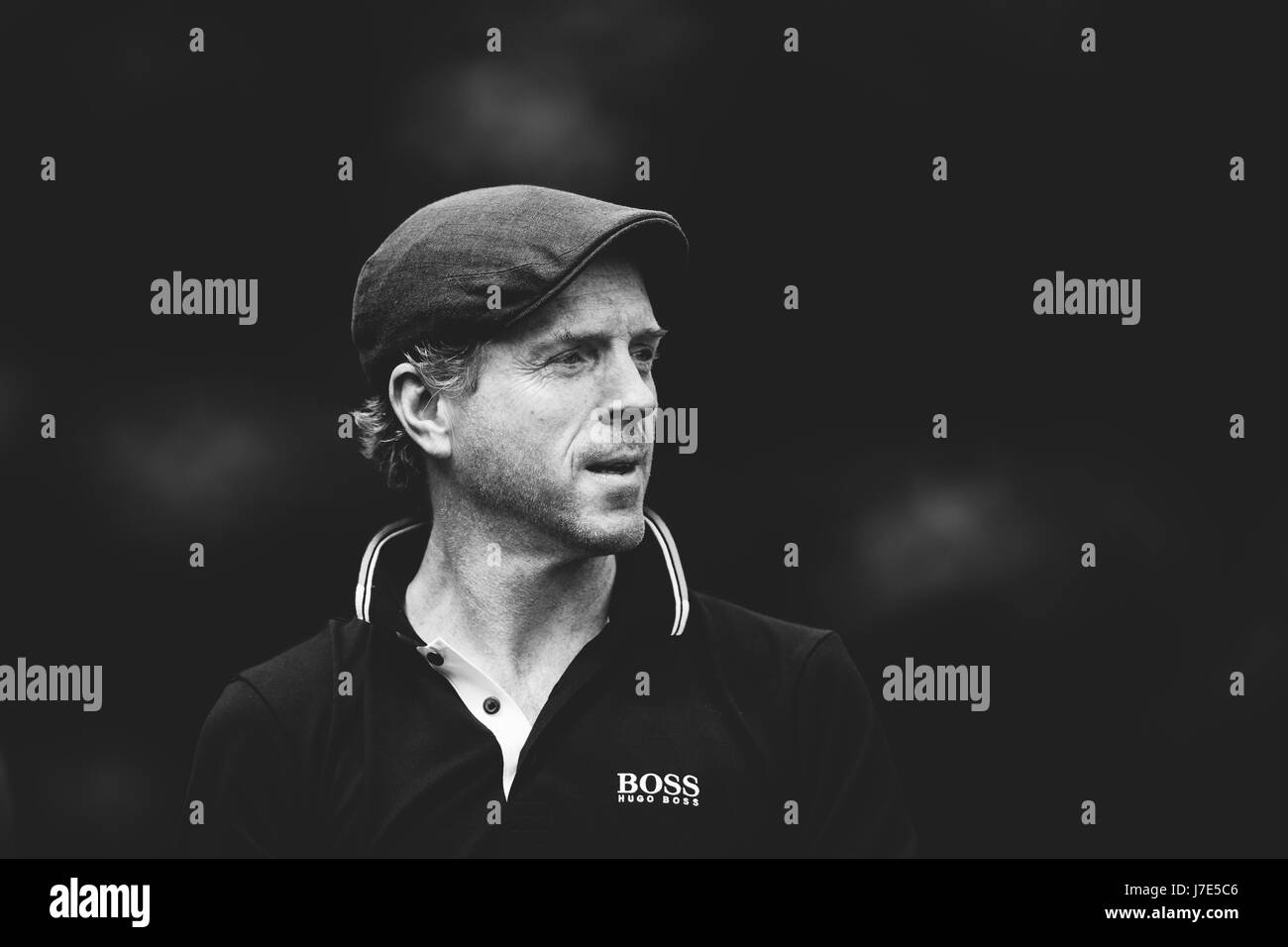 Damian Lewis competes in the celebrity Pro-Am competition ahead of the BMW PGA Championship at Wentworth on May, - Stock Image