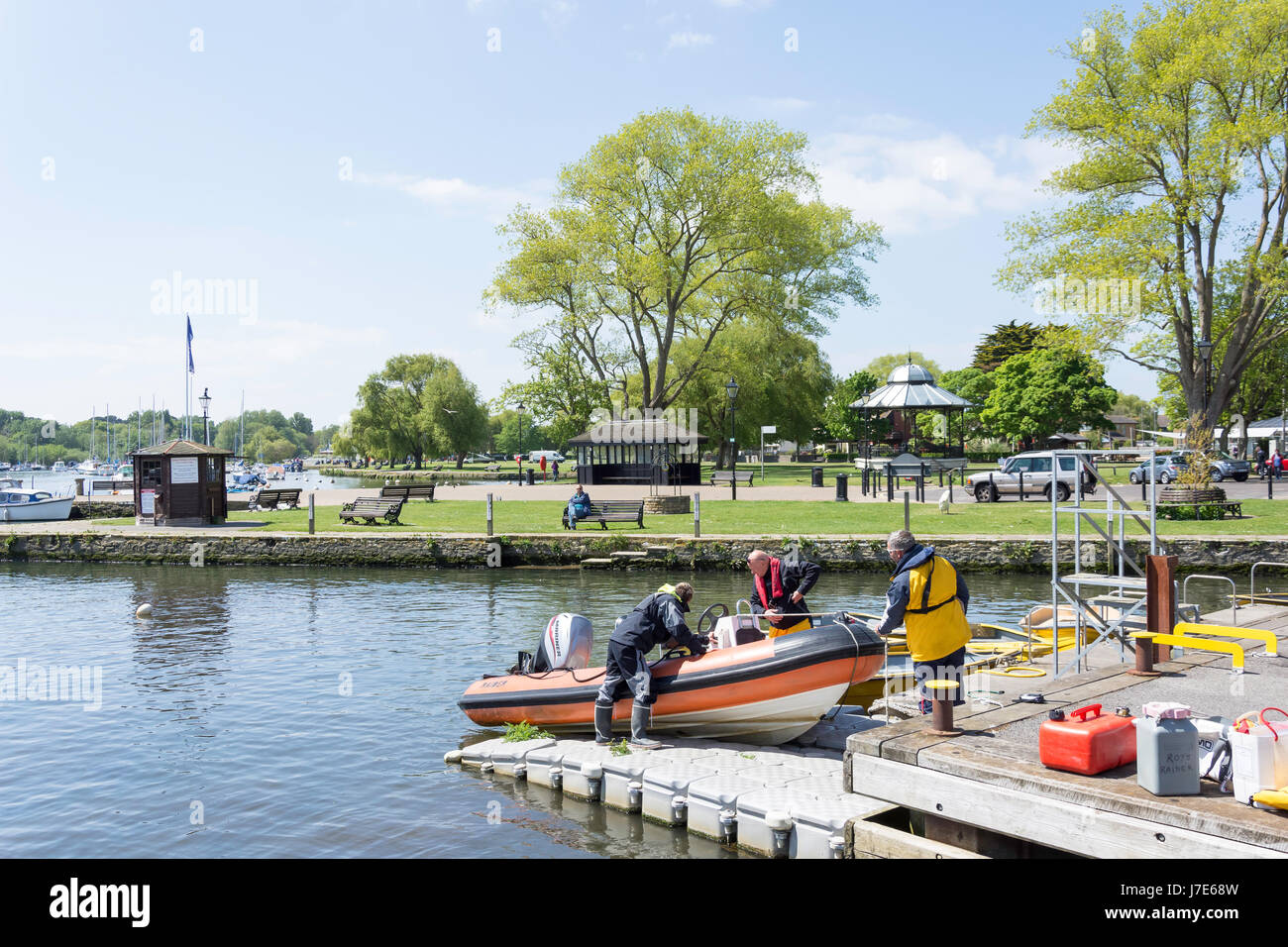 Town Quay and The Quomps, Christchurch Quay, Christchurch, Dorset, England, United Kingdom - Stock Image