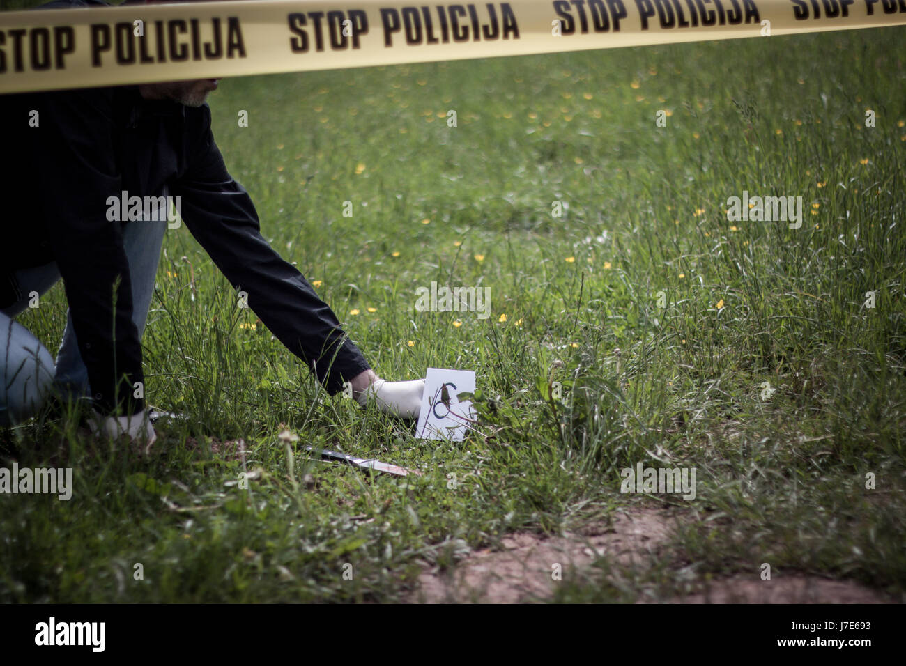 The crime scene, murder, investigation, bloody knife on the grass, an investigation is underway, expert witness - Stock Image