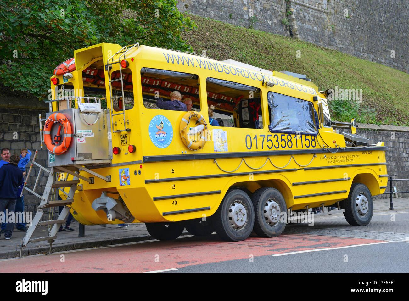 Windsor Amphibious Duck Tours vehicle, High Street, Windsor, Berkshire, England, United Kingdom - Stock Image