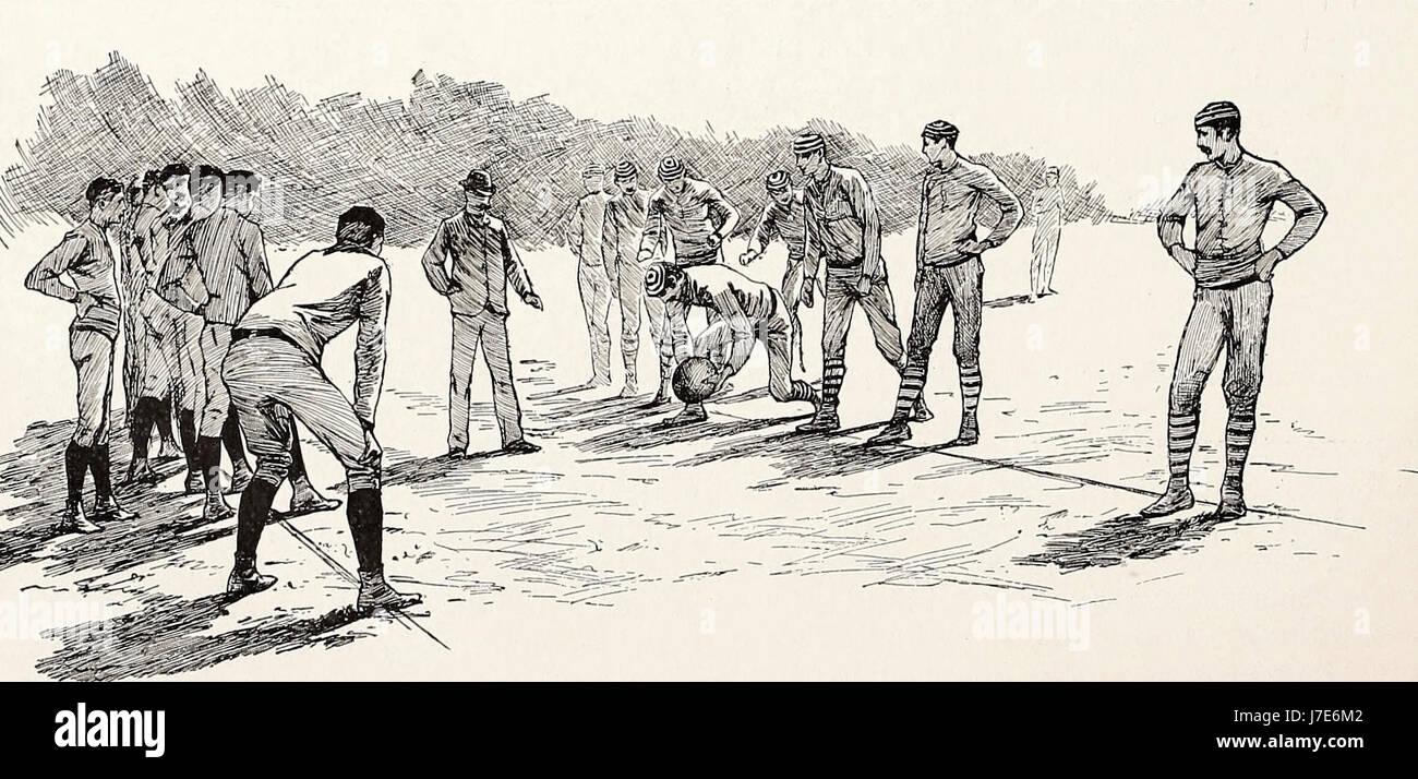 Lining up - An American Football Game, circa 1887 - Stock Image