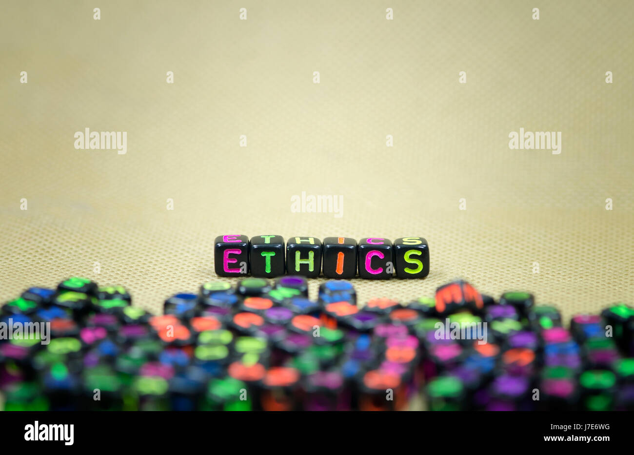 word ethics using colorful beads.conceptual image. - Stock Image
