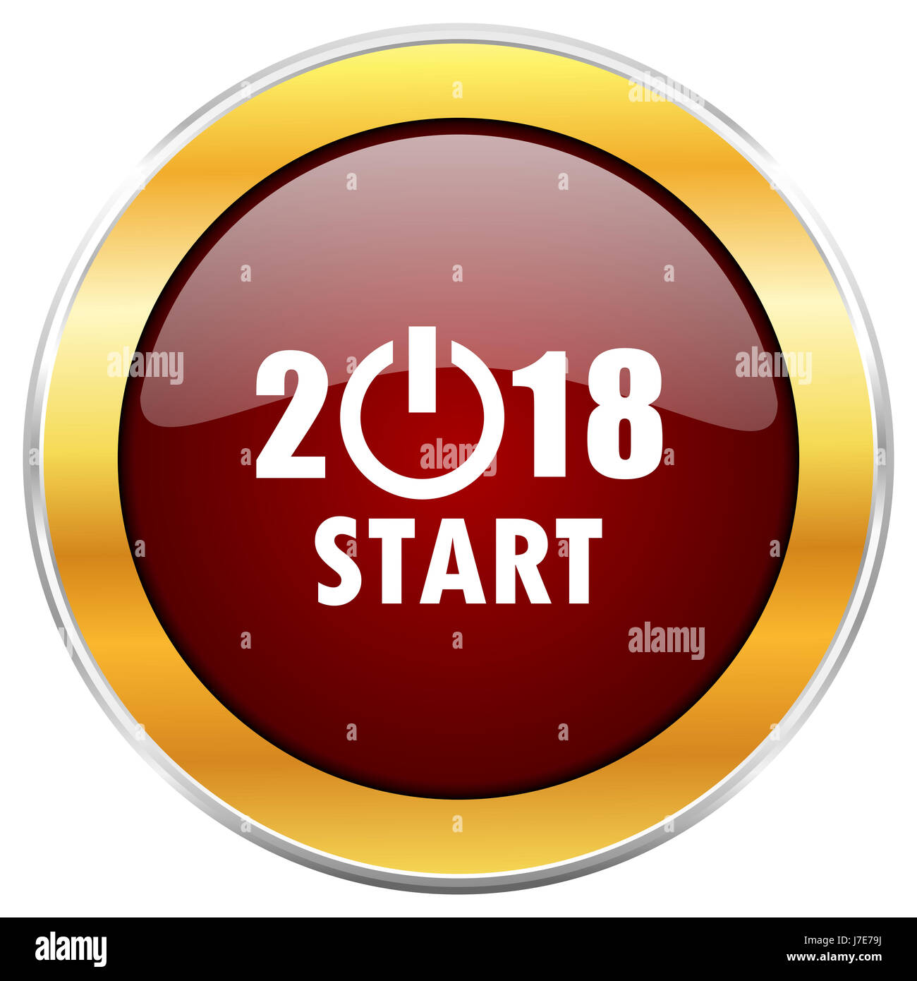 new year 2018 red web icon with golden border isolated on white background round glossy button