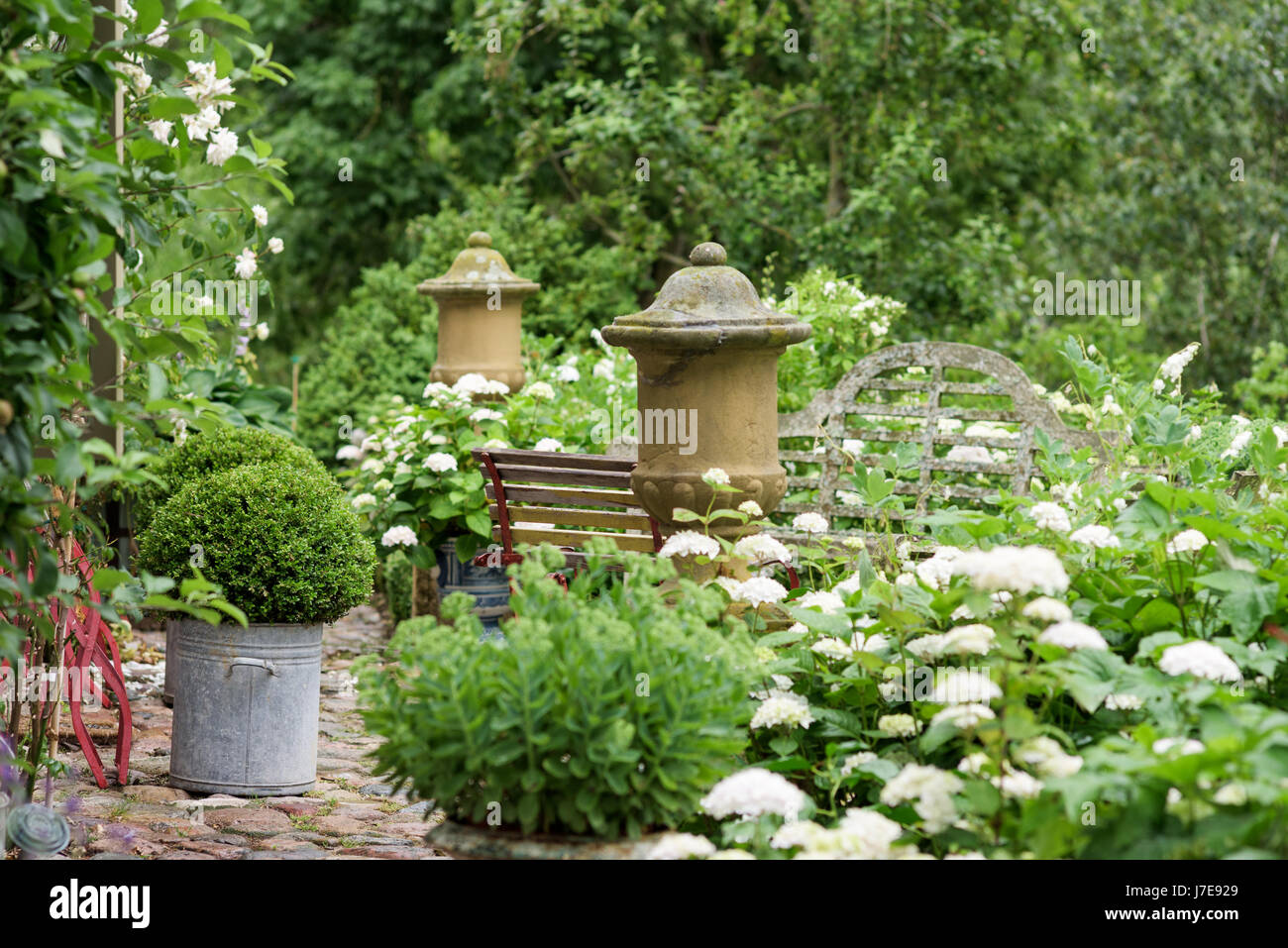 Pebble stone path with clipped box sphere and folding chair in grounds of 17th century farmhouse - Stock Image