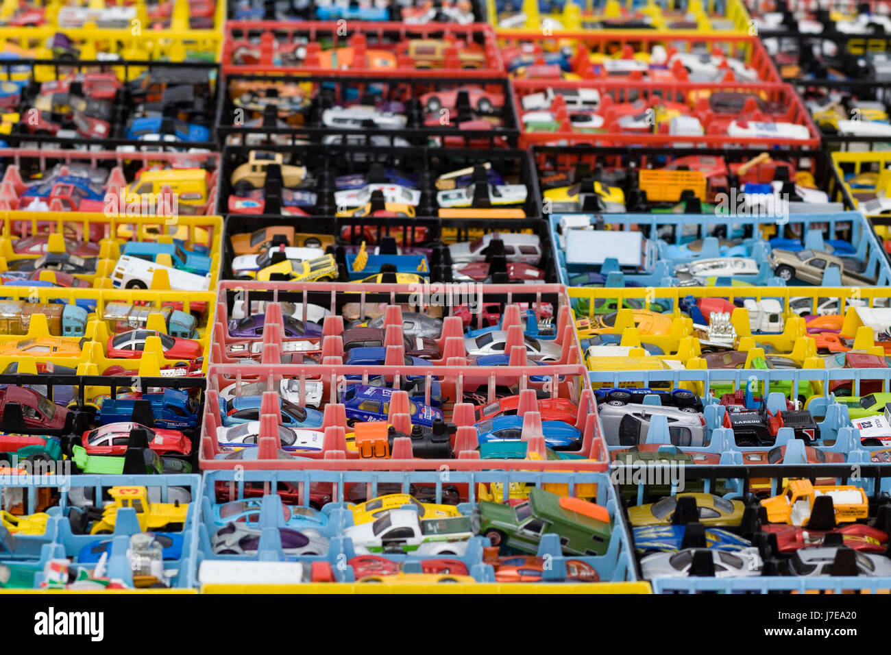 DIe cast toys cars in creates - Stock Image