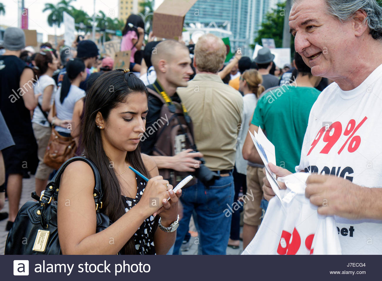 Miami Florida Biscayne Boulevard Freedom Torch Occupy Miami demonstration protest protesters anti Wall Street banks - Stock Image