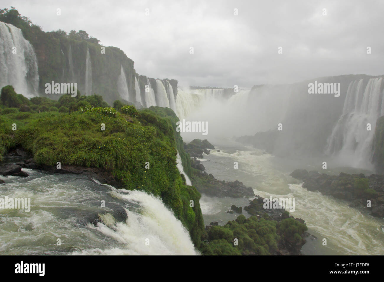 Iguazu Falls, Brazilian Falls from walkway near Devil's throat, Brazil - Stock Image