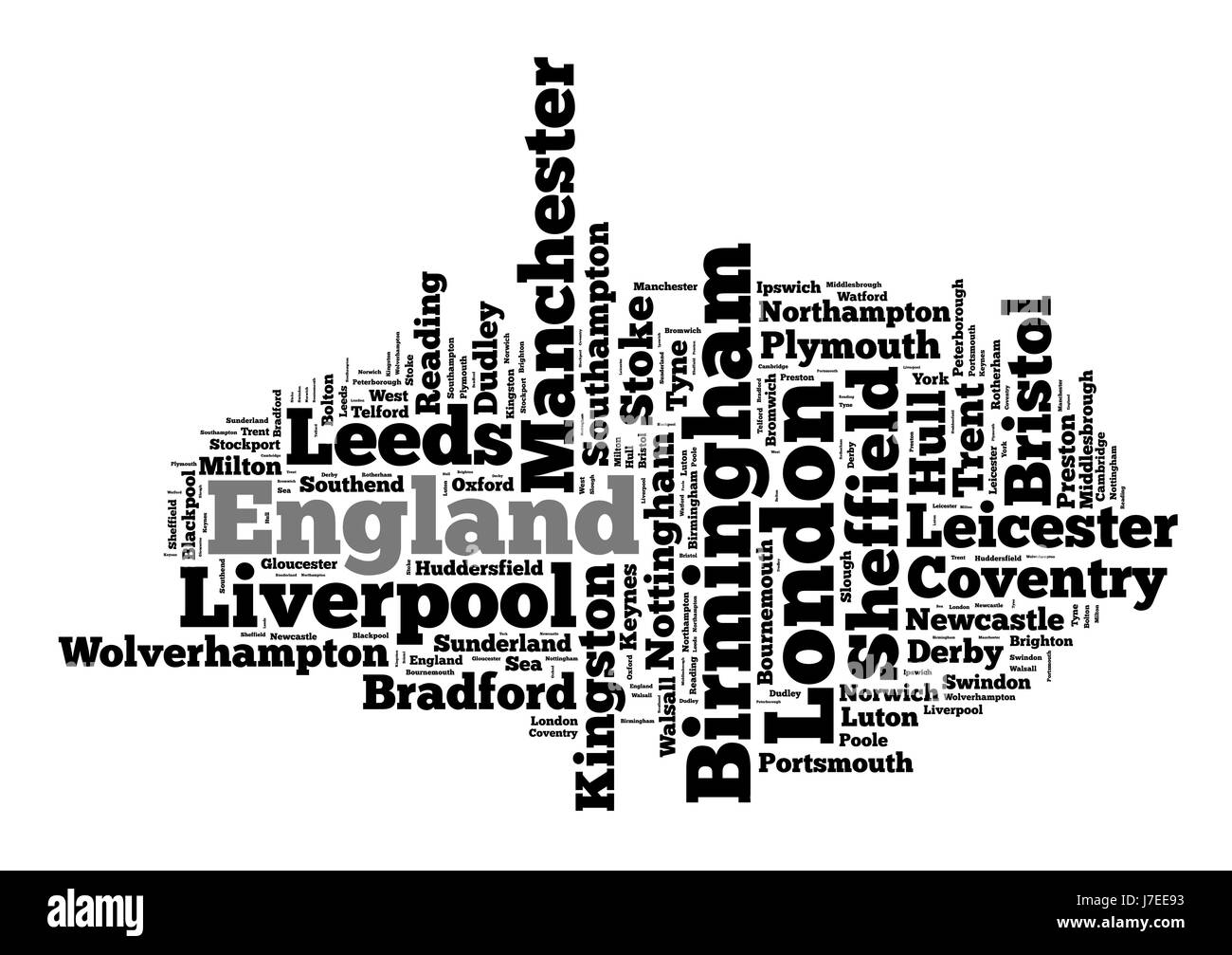 Localities in England word cloud concept - Stock Image