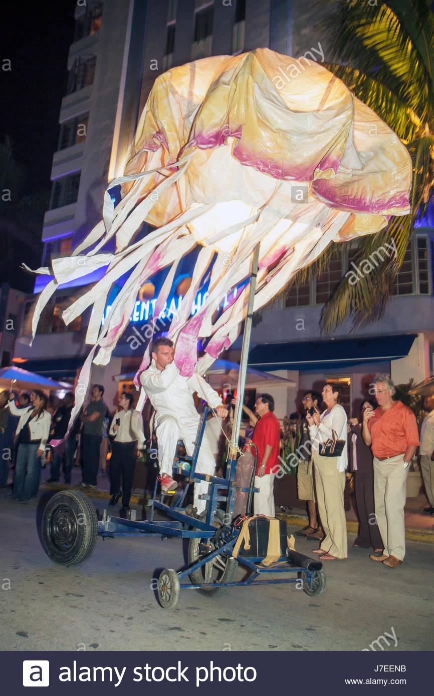 Miami Beach Florida Ocean Drive Sleepless Night event Barcelona street theater group Sarruga artist Pakito Gutierrez - Stock Image