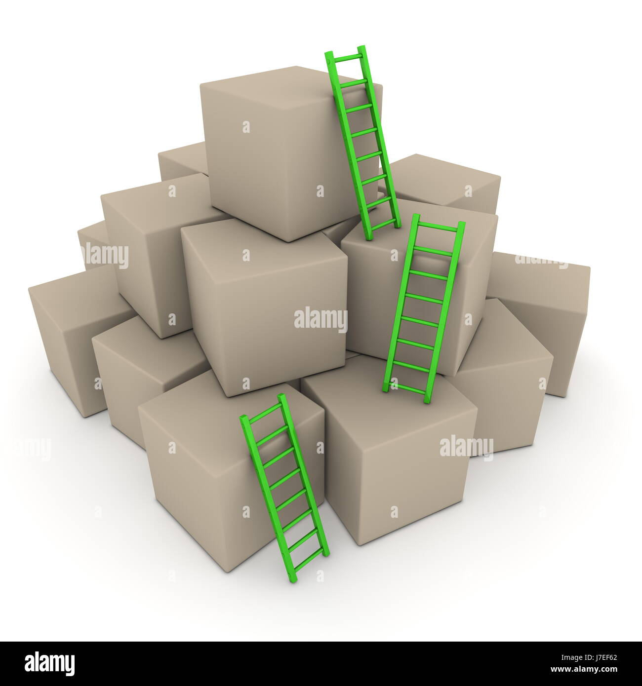 stack box boxes ladder heap pile cubes cardboard carton green stock stairs - Stock Image