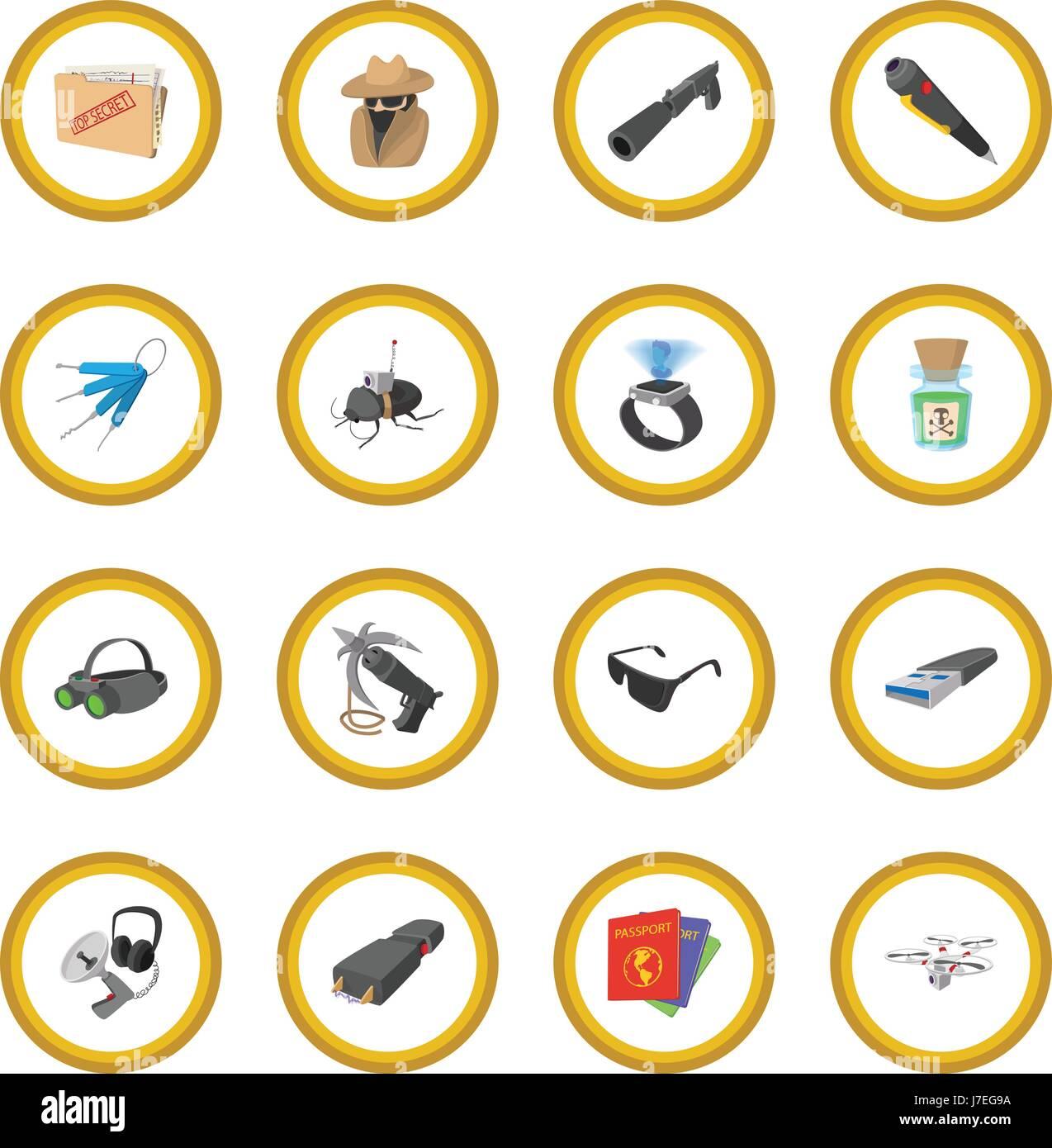 Spy cartoon icon circle - Stock Image