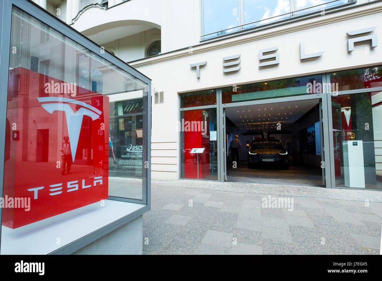 Tesla electric car showroom on Kurfurstendamm shopping street in Charlottenburg Berlin, Germany - Stock Image