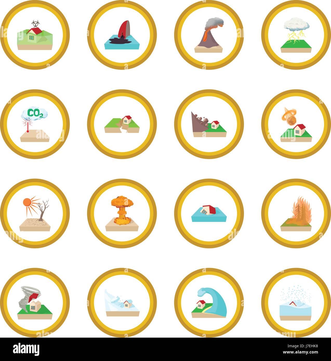 Natural disaster icon circle - Stock Image