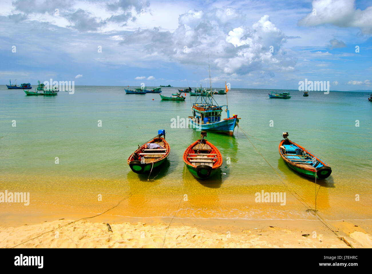 Boats in the sea, Phu Quoc island, Vietnam - Stock Image