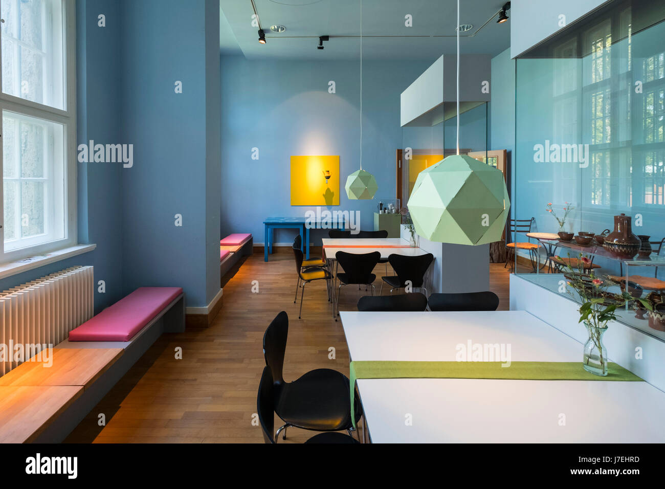 Interior of cafe at Museum of European Cultures in Dahlem, Berlin, Germany - Stock Image