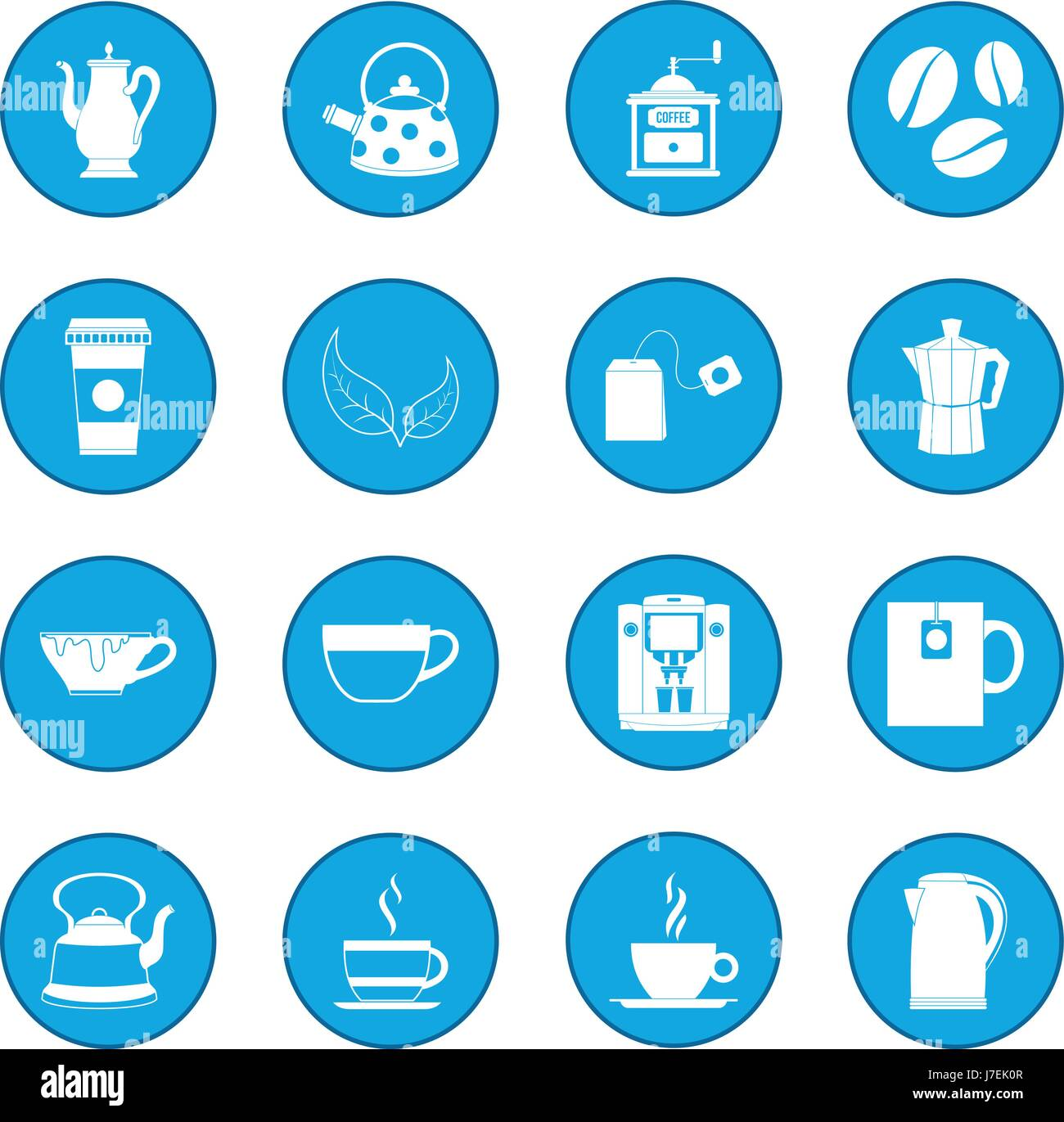 Tea and Coffee icon blue - Stock Image