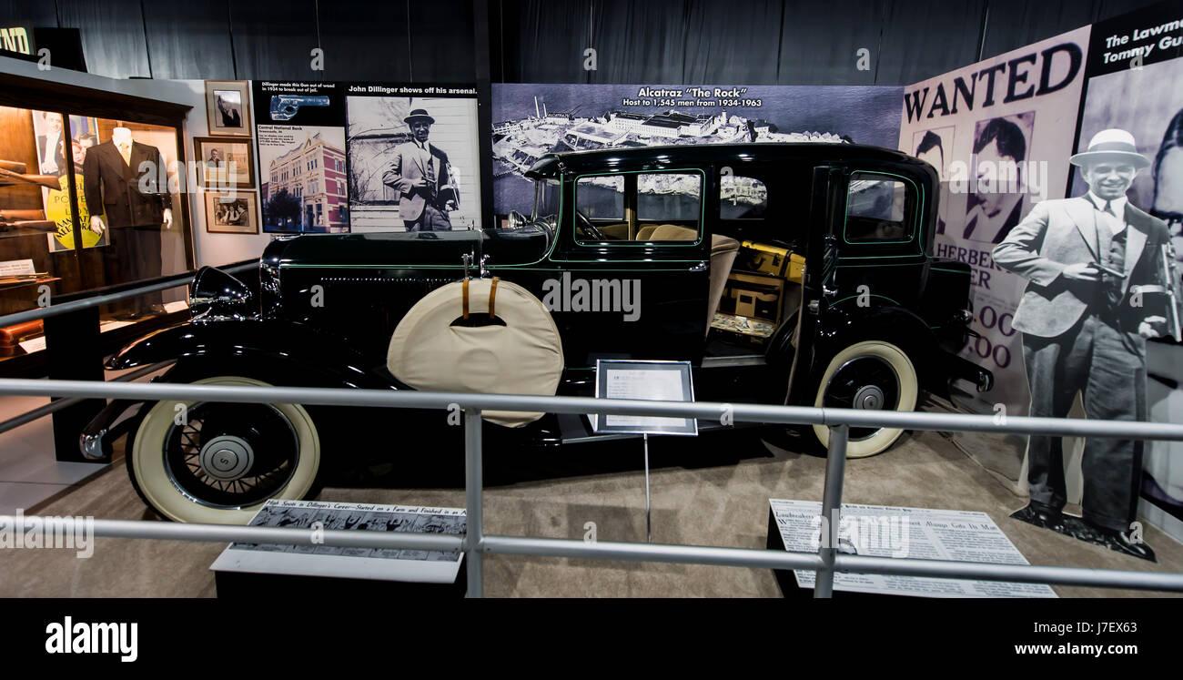 Roscoe, Illinois, USA. 24th May, 2017. John Dillinger\'s getaway car ...