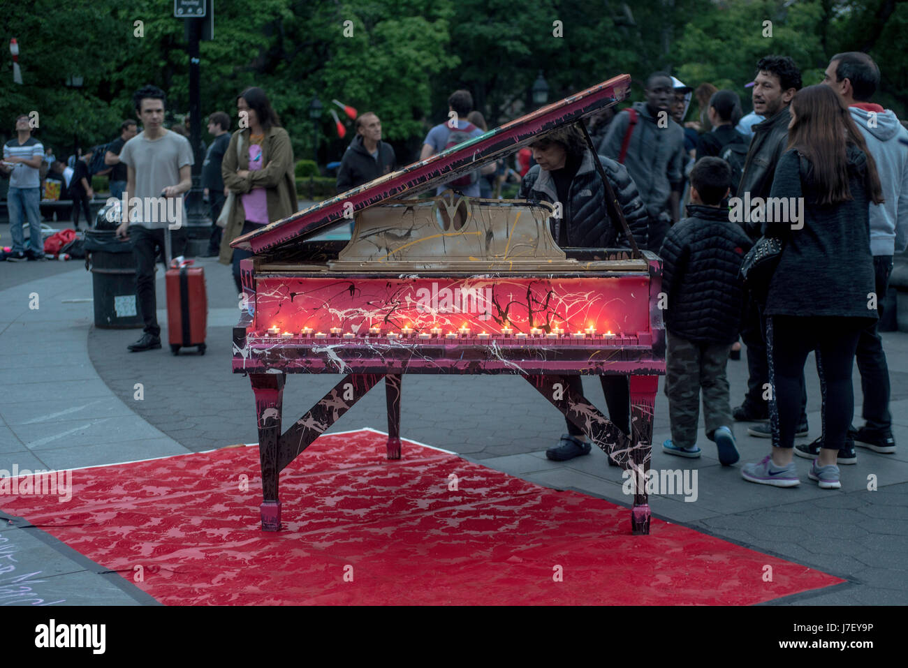 New York, USA 24 May 2014 - Silent Piano, a candlelight memorial for the victims of the Manchester terrorist attack, - Stock Image