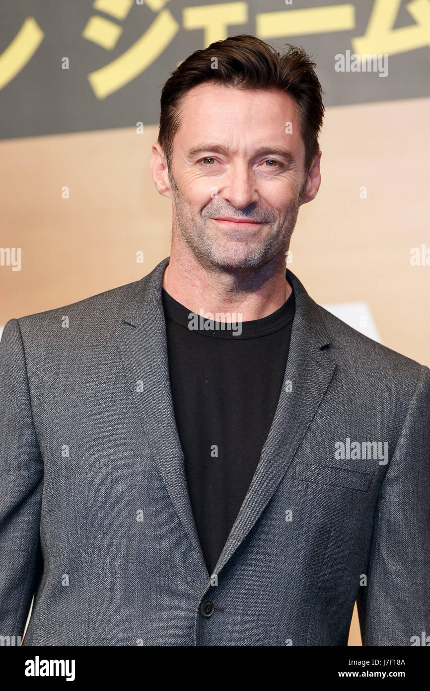 Tokyo, Japan. 25th May, 2017. Australian actor Hugh Jackman poses for cameras during a press conference for the - Stock Image