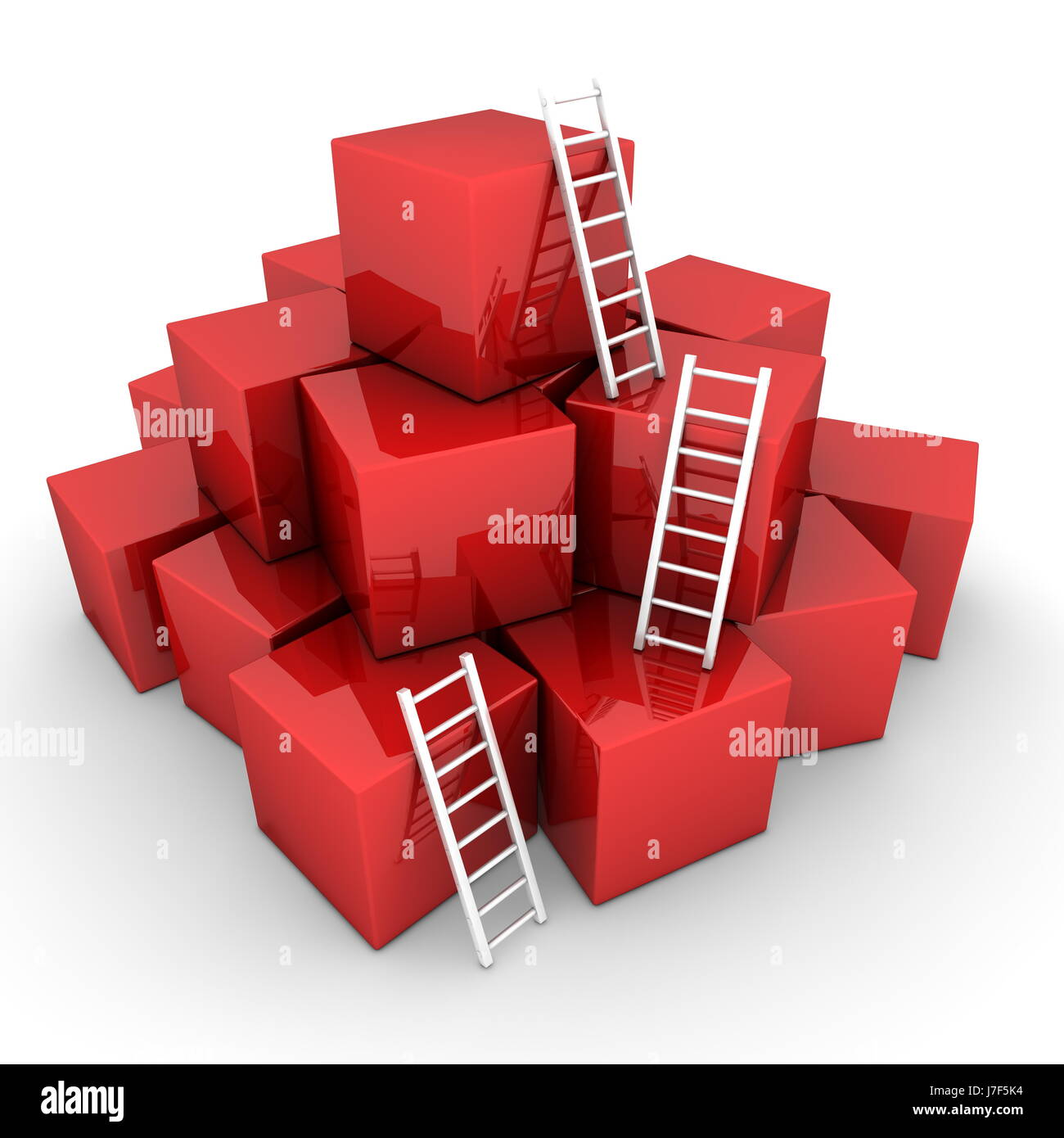stack box boxes blocks heap pile white cubes ladders red stairs object isolated - Stock Image