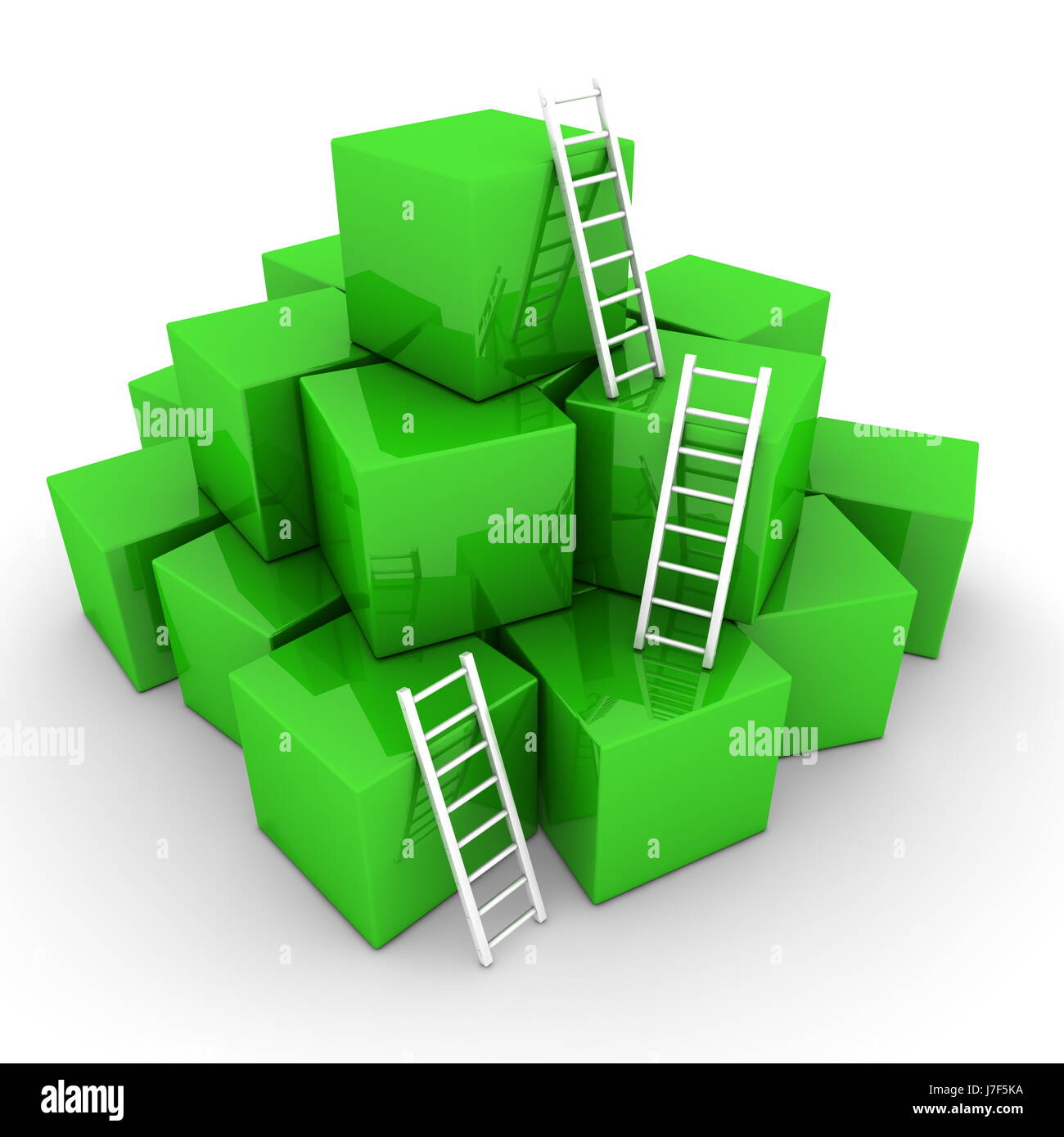 stack box boxes blocks ladder heap pile white cubes green stairs object - Stock Image