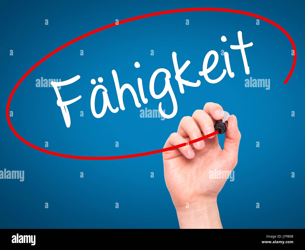 Man Hand writing Fahigkeit (Ability in German) with black marker on visual screen. Isolated on background. Business, Stock Photo