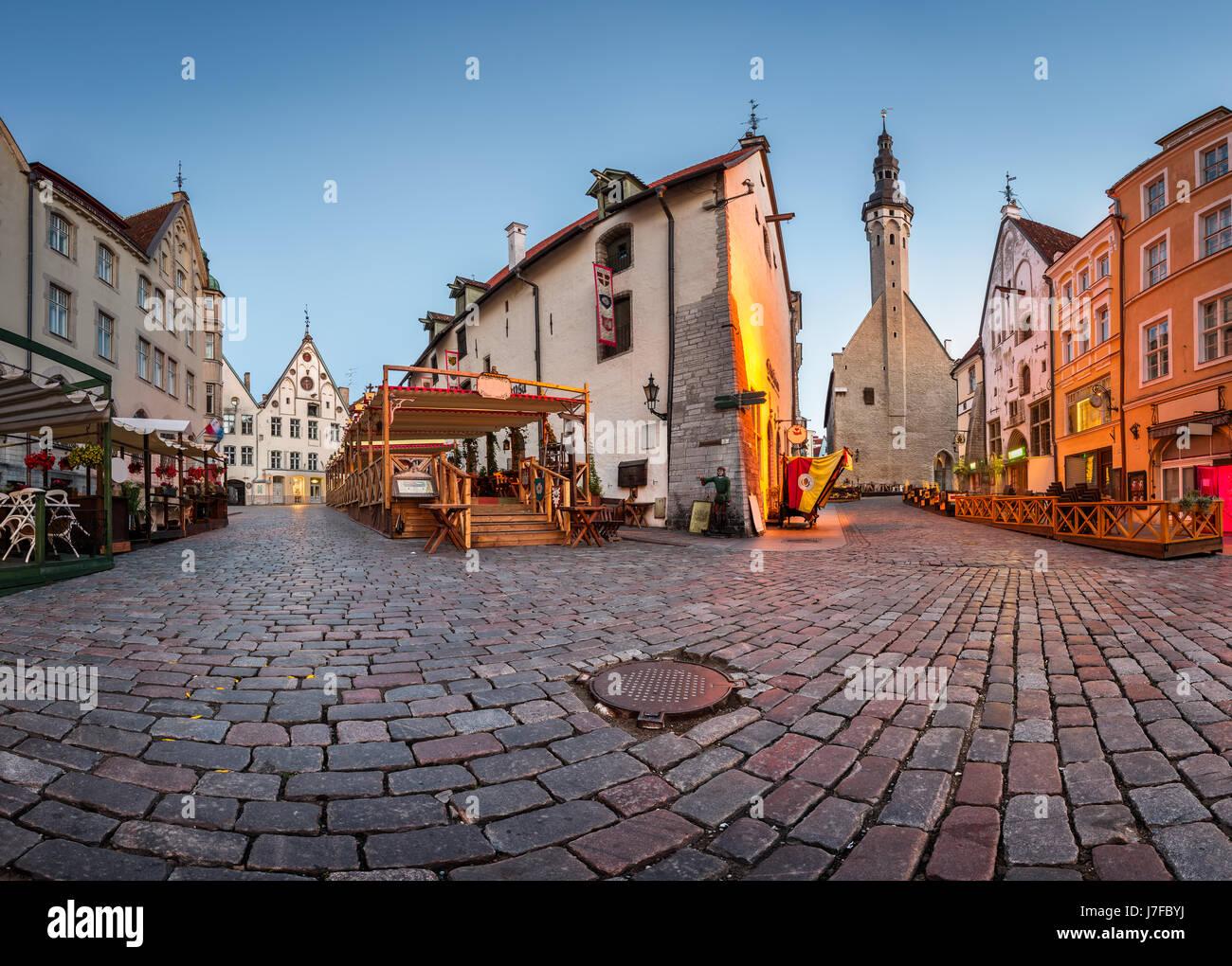 Tallinn Town Hall and Olde Hansa Restaurant in the Morning, Tallinn, Estonia - Stock Image