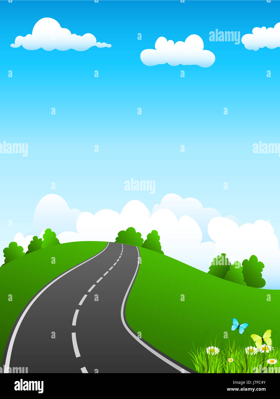 asphalt spring outing landscape scenery countryside nature street road drive - Stock Image