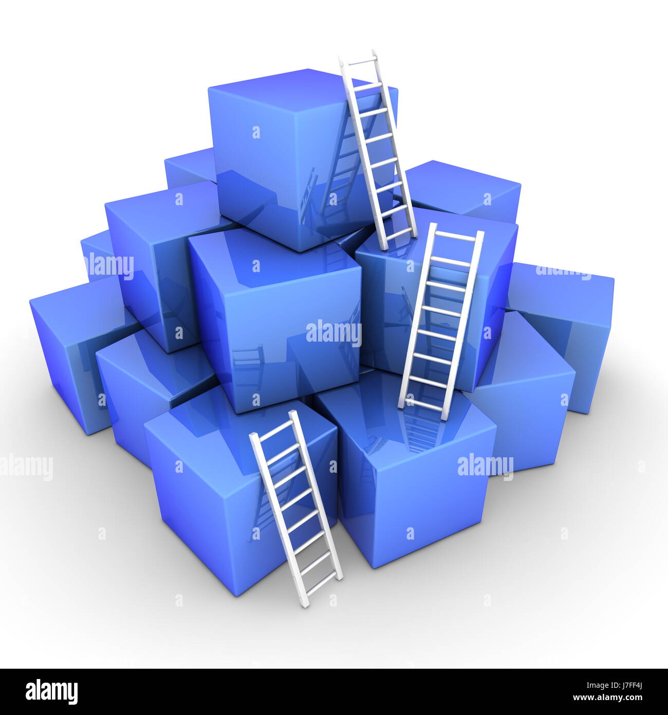 blue stack box boxes glossy ladder heap pile white cubes blue stairs object - Stock Image