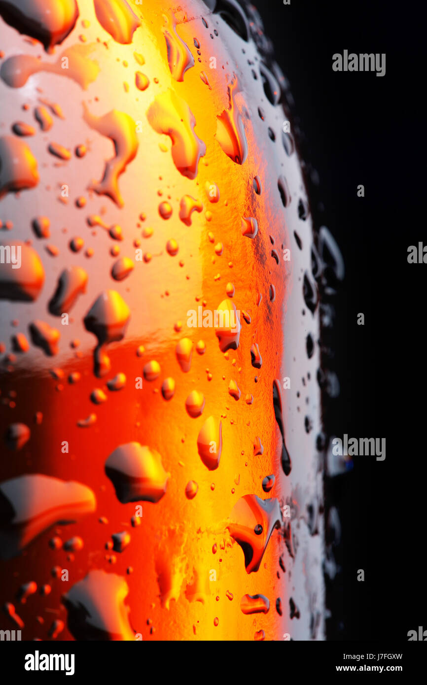 macro close-up macro admission close up view closeup beer bottle cool water - Stock Image